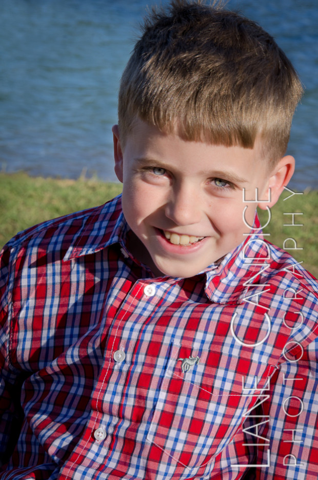 third grade boy on location portrait